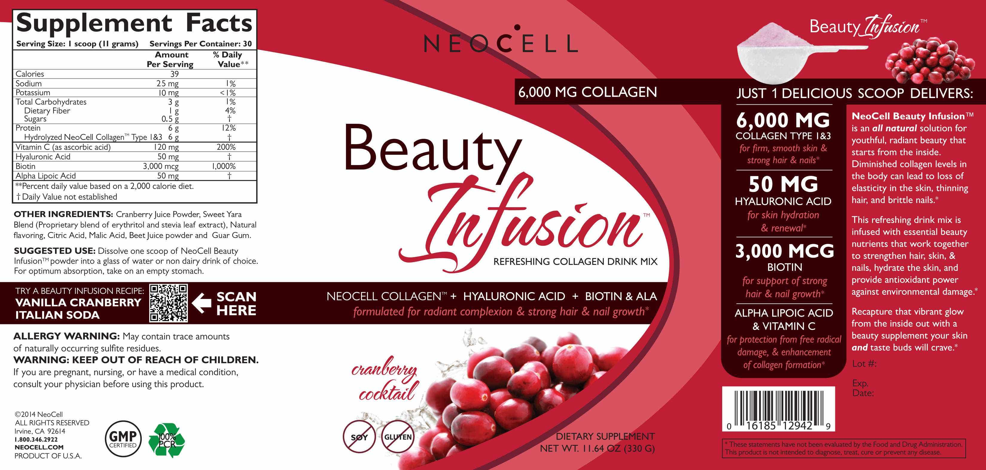 Neocell Laboratories Collagen Drink Mix - Beauty Infusion - Cranberry Splash - 11.64 Oz Daily Essential Moisturizer with Jojoba and Aloe Vera - 4 oz. by Desert Essence (pack of 12)