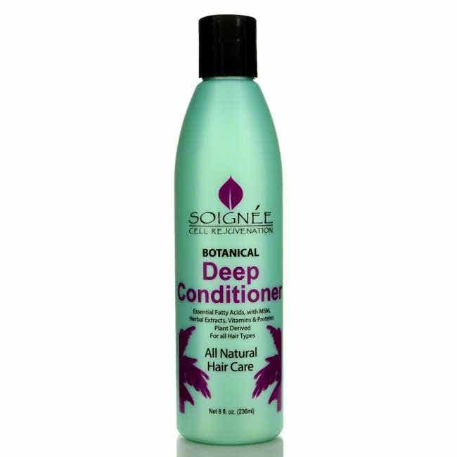 Soignee Botanical Deep Conditioner  A deep conditioner formulated for damaged or chemically treated hair, Soignee Botanical Deep Conditioner is pure, natural, and nurturing to stressed strands.  Formulated with essential fatty acids and MSM, a highly bioavailable source of organic sulfur. Proteins, herbal extracts, and vitamins provide strength and silkiness, and promotes healthy hair and scalp.  Soignee Botanical Deep Conditioner can be used by all hair types, and is especially beneficial for damaged or chemically treated hair.     • All Plant Derived & Hypoallergenic  • No Cancer Causing Chemicals  • No Sodium Lauryl/Laureth Sulfate  • No Paraben Preservatives  • No Mineral Oil & Dimethicone  • No Polyethylene Glycol  • No Isopropyl Alcohol  • No Carbomer  • No Animal Testing- Cruelty Free  • Made in USA    Directions for Use: After shampooing with Soignee Botanical Shampoo, apply to damp hair and work into scalp. Leave