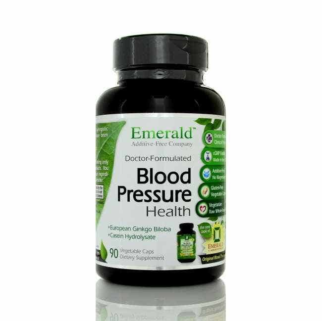 Emerald Labs Blood Pressure Health Formula, 90 ct  A natural approach to support balanced blood pressure levels. Emerald Labs Blood Pressure Health combines essential nutrients, like Magnesium and Potassium, with herbal extracts of Hawthorne Berry, Ginkgo Biloba, and Dandelion Leaf Powder to maintain proper blood pressure and promote healthy circulation.    Contains Albion Magnesium & Potassium – the gold standard in mineral chelates.  Contains highest quality European Extracted Ginkgo Biloba Extract.  Contains Casien Hydrolosate – shown to effectively relax blood vessels.  ContainsCrataegus monogyna Extract which has been show to have blood pressure lowering effects.    PLUS Emerald Labs own raw whole-food based formula with Prebiotics, Enzymes & Probiotics containing:  Raw Whole Food Sprout Powders (Alfalfa, Quinoa, Mung Bean, Millet & Broccoli - containing 3500ppm sulfurophane), Raw Plant Enzyme Blend (Lipase, Lactase, Invertase, Protease, Hemicellulase