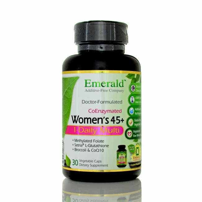 Emerald Labs One-A-Day Complete Women's 45+ Multi Vit-A-Min  This one-a-day, complete multivitamin formula has been specifically created for the needs of women age 45 and over with Antioxidants, Coenzymes, Coenzyme Folic Acid; plus additional calcium, K vitamins, and Broccoli extract.   Recent research shows that almost half of the U.S. population can not properly metabolize Folic Acid unless it is in its activated, coenzyme form. One-A-Day Complete for Women 45+ contains 200mcg of Coenzyme Folic Acid (L-5 Methyl Tetrahydrofolate).  One-A-Day Complete Women's 45+ contains added calcium for osteo bone support.   Calcium absorption and bone development peaks around age 20 for women, and by age 30 it begins to decrease. Calcium supplementation is important to reduce bone loss in women over the age of 30. When combined with vitamin D, calcium may fight PMS symptoms. Additional benefits of calcium include support for weight maintainance, and may reduce cardiovascular disease and